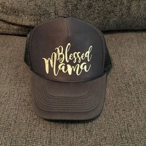 "Accessories - Black ""Blessed Mama"" Trucker Hat - Glitter Writing"
